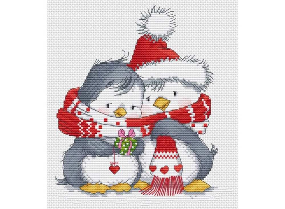 Купить Вышивка крестом, Набор для вышивания «Пингвинчики», Белоснежка, 24x27 см, B-418