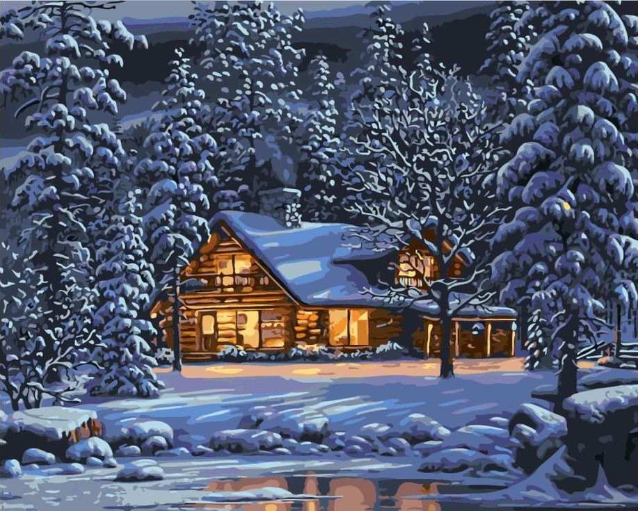 Красивая открытка зима вечер