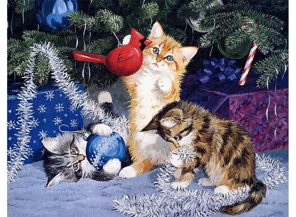 Открытка новый год коты