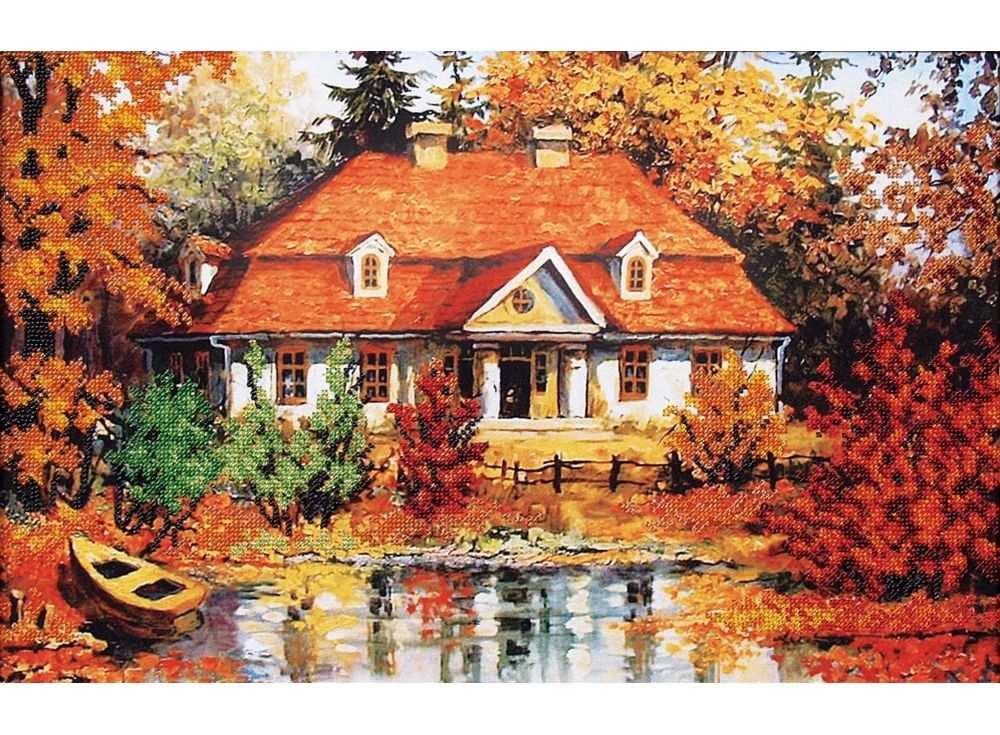 Купить Вышивка бисером, Набор вышивки бисером «Дом у озера», Магия канвы, 44, 5x28 см, Б-061
