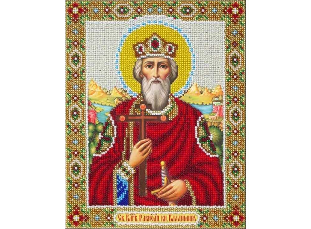 Купить Вышивка бисером, Набор вышивки бисером «Святой Владимир», Паутинка, 20x25 см, Б-1008