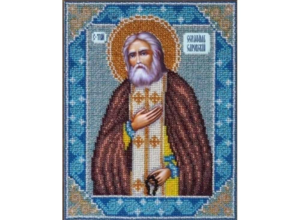 Купить Вышивка бисером, Набор вышивки бисером «Святой Серафим Саровский», Паутинка, 20x25 см, Б-1009