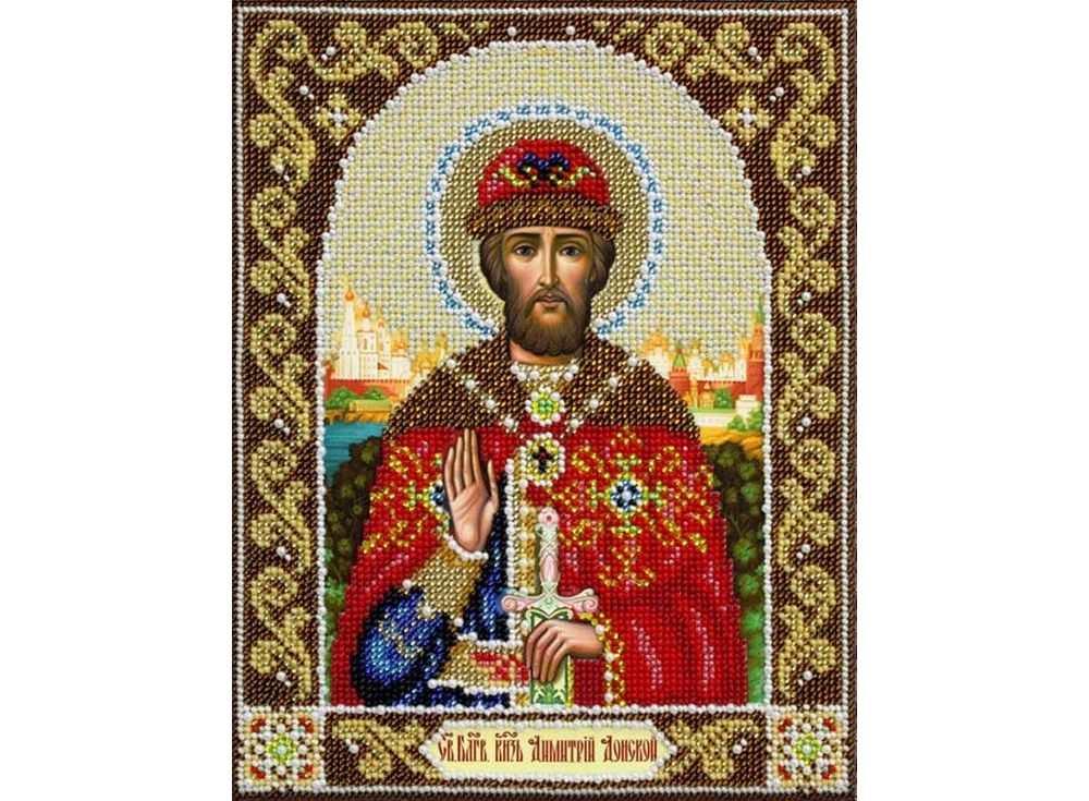 Купить Вышивка бисером, Набор вышивки бисером «Святой Дмитрий», Паутинка, 20x25 см, Б-1037