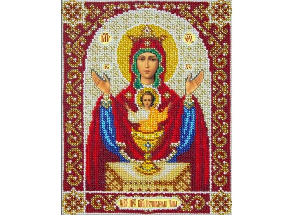 Купить Вышивка бисером, Набор вышивки бисером «Богородица Неупиваемая чаша», Паутинка, 20x25 см, Б-1048