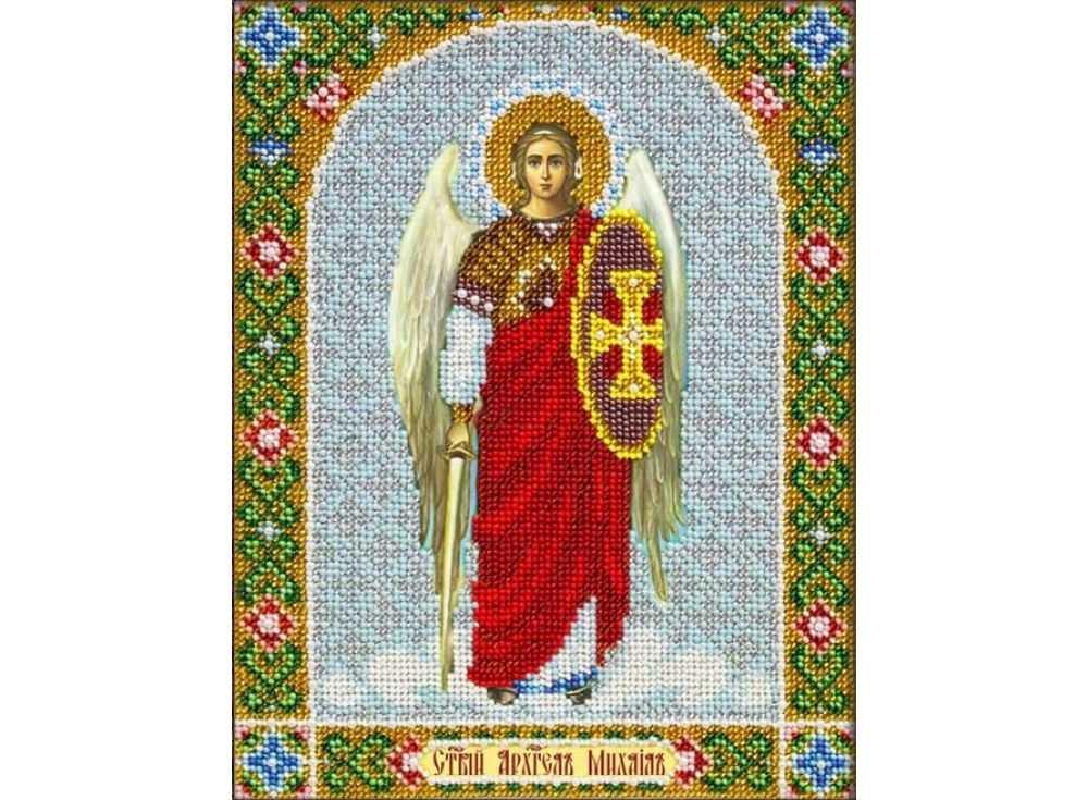 Купить Вышивка бисером, Набор вышивки бисером «Святой Архангел Михаил», Паутинка, 20x25 см, Б-1050