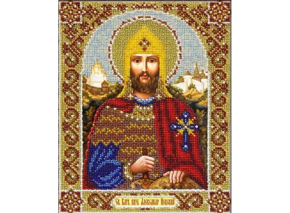Купить Вышивка бисером, Набор вышивки бисером «Святой Александр Невский», Паутинка, 20x25 см, Б-1052
