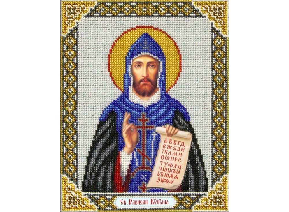 Купить Вышивка бисером, Набор вышивки бисером «Святой Кирилл», Паутинка, 20x25 см, Б-1059