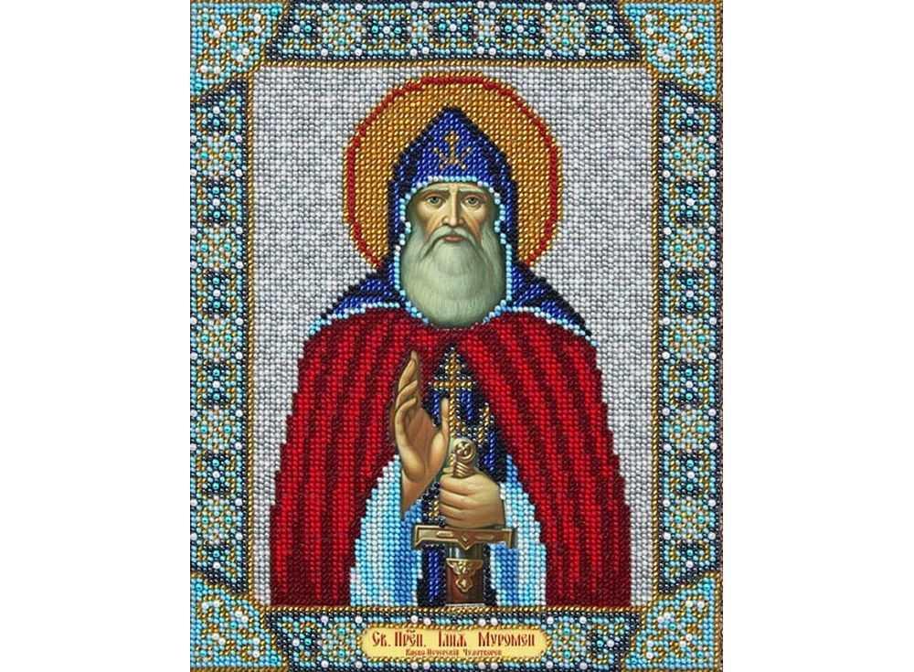 Купить Вышивка бисером, Набор вышивки бисером «Святой Илья Муромец», Паутинка, 20x25 см, Б-1060