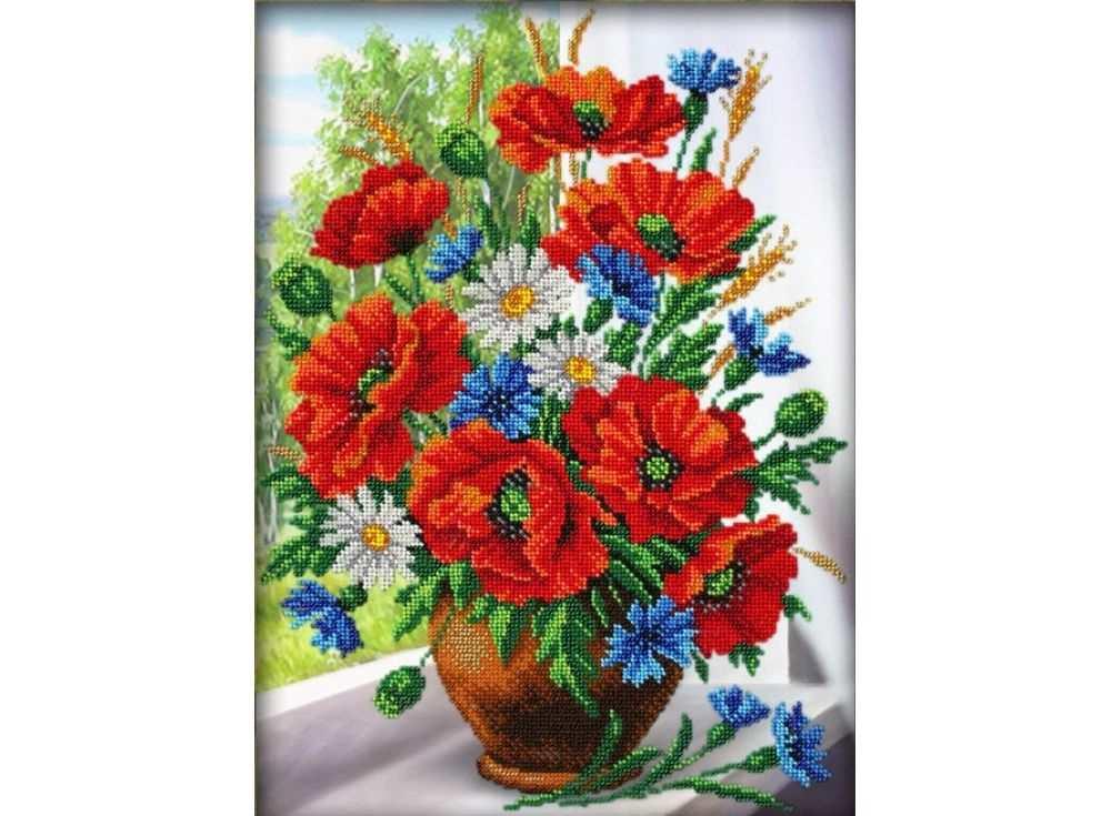 Купить Вышивка бисером, Набор вышивки бисером «Любимые цветы», Паутинка, 38x28 см, Б-1235