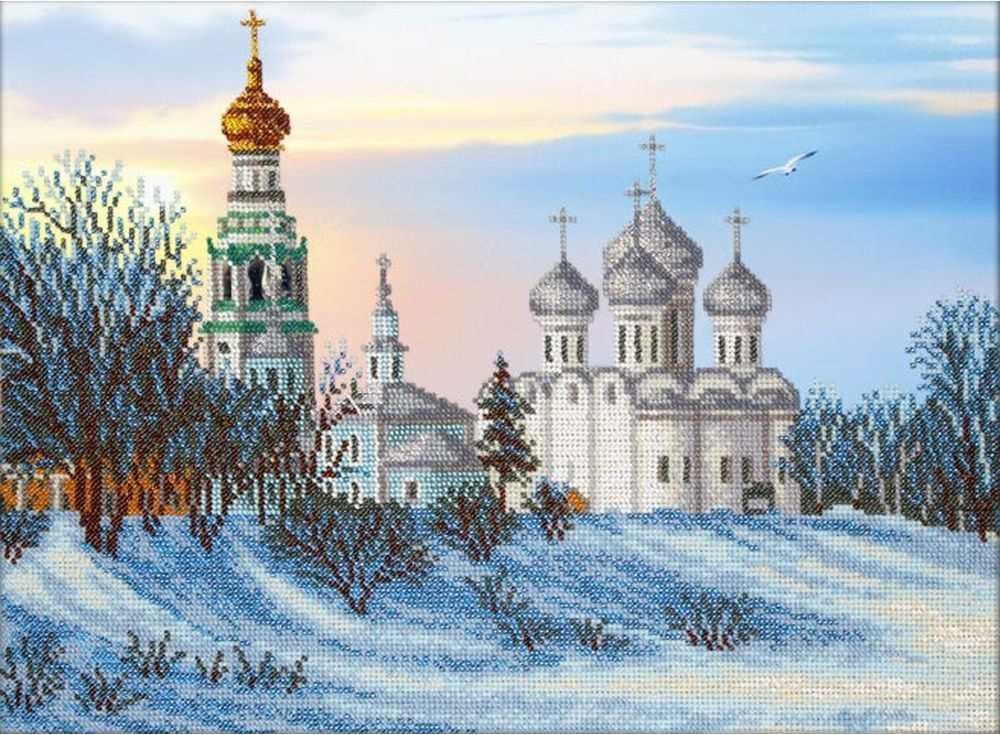 Купить Вышивка бисером, Набор вышивки бисером «Вологда», Паутинка, 38x28 см, Б-1445