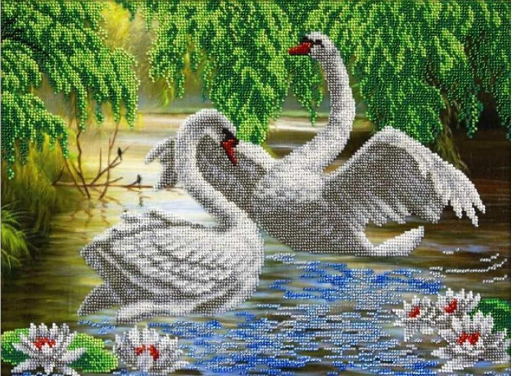 при вышивание крестиком картинки лебеди черноплодной рябины домашних