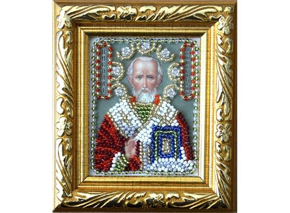 Купить Вышивка бисером, Набор вышивки бисером «Святой Николай Угодник» (путная икона), Вышиваем бисером, 6x7 см, В-3