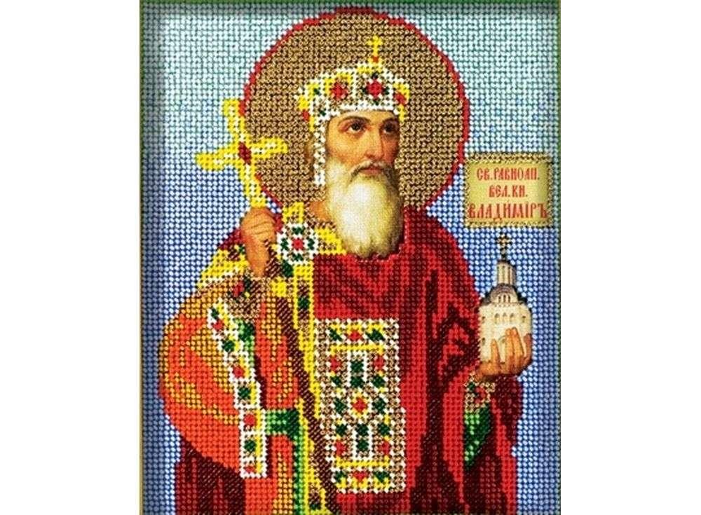 Купить Вышивка бисером, Набор вышивки бисером «Святой Владимир», Кроше (Радуга бисера), 12x14, 5 см, В-319