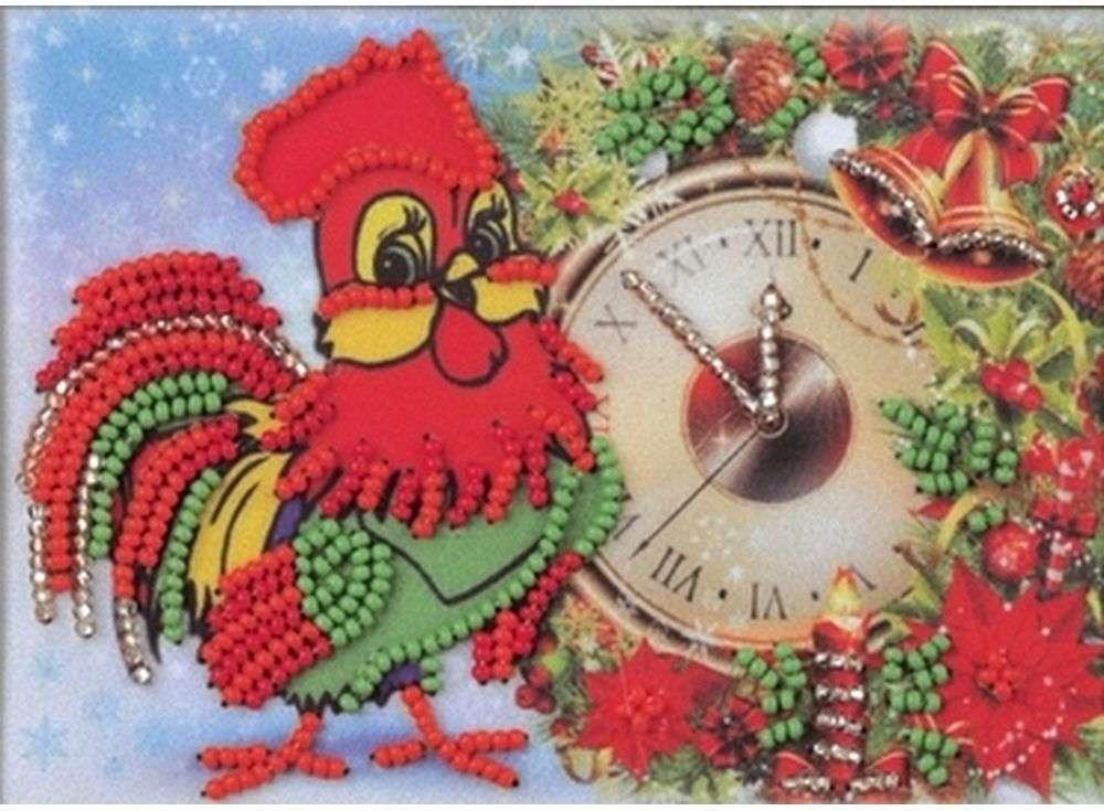 Купить Вышивка бисером, Набор вышивки бисером «Скоро Новый Год!», Кроше (Радуга бисера), 15x10 см, В-523