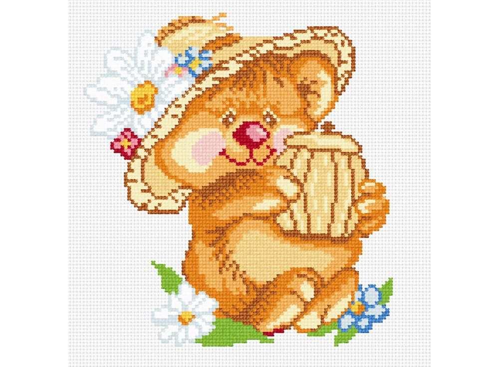 Купить Вышивка крестом, Набор для вышивания «Мишка с бочонком», МП-студия, 23x25 см, НВ-069