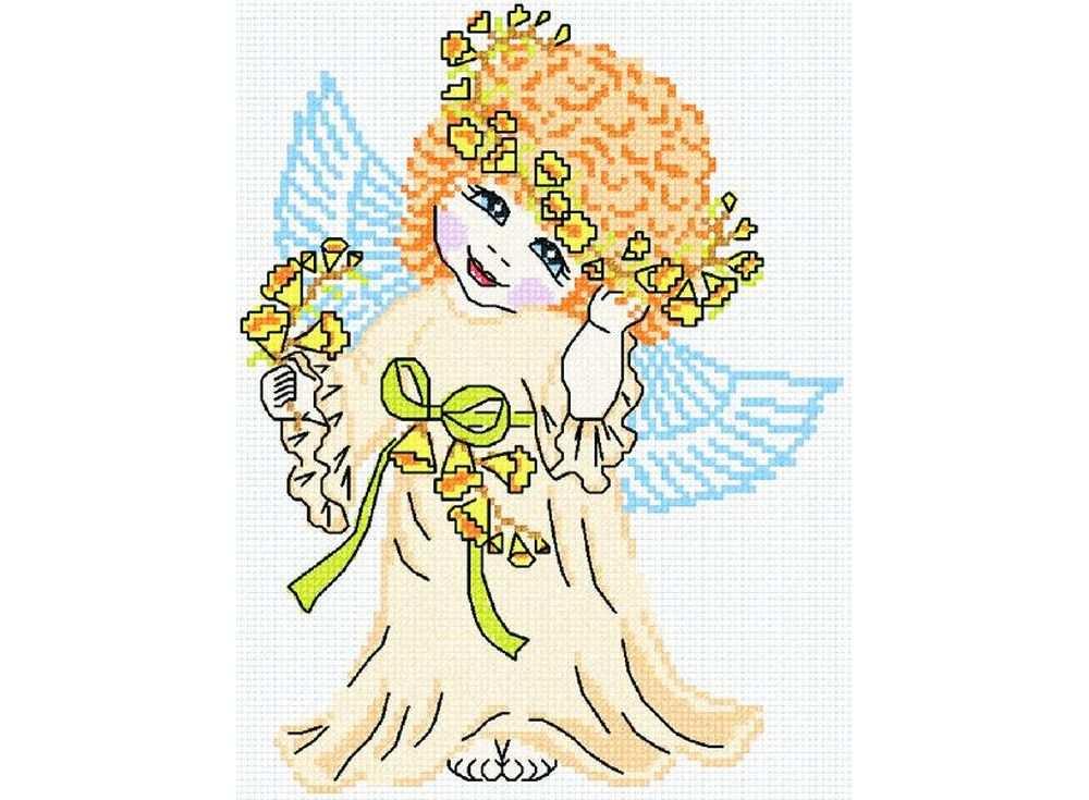 Купить Вышивка крестом, Набор для вышивания «Ангел в желтом», МП-студия, 23x27 см, НВ-109