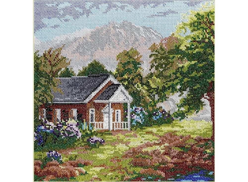 Купить Вышивка крестом, Набор для вышивания «Домик в горах», МП-студия, 25x25 см, НВ-203