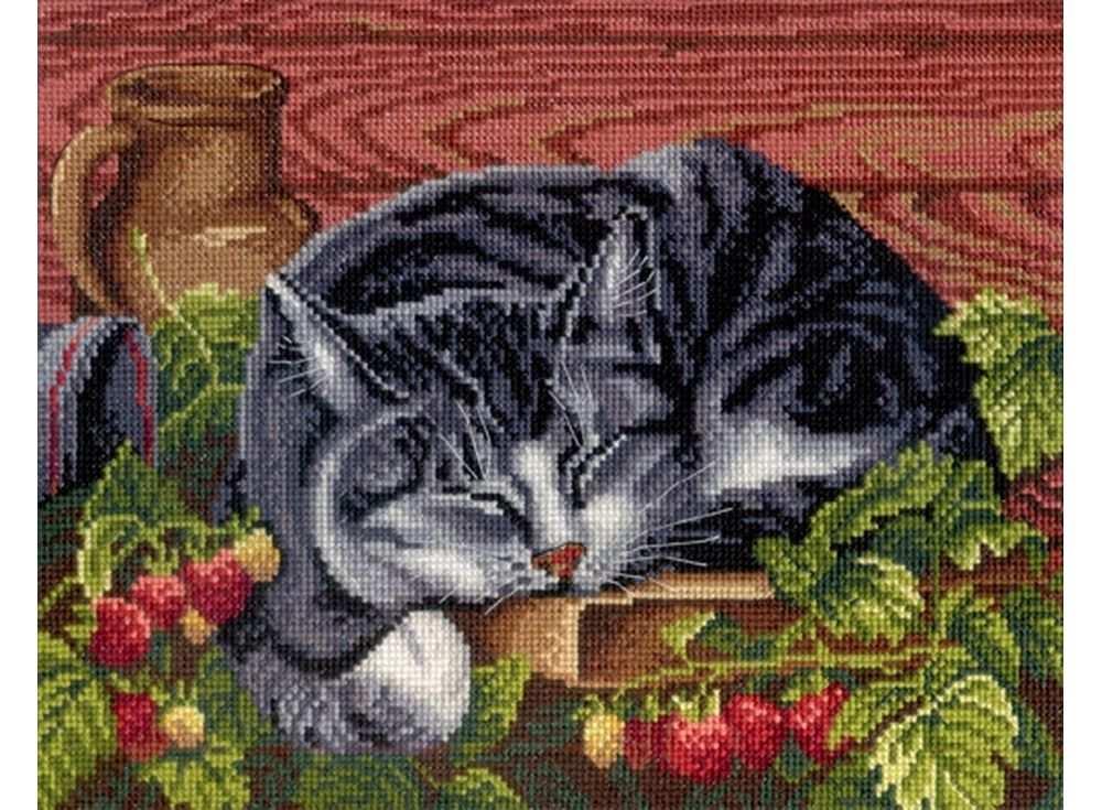 Купить Вышивка крестом, Набор для вышивания «Спящий кот», МП-студия, 22x28 см, НВ-268
