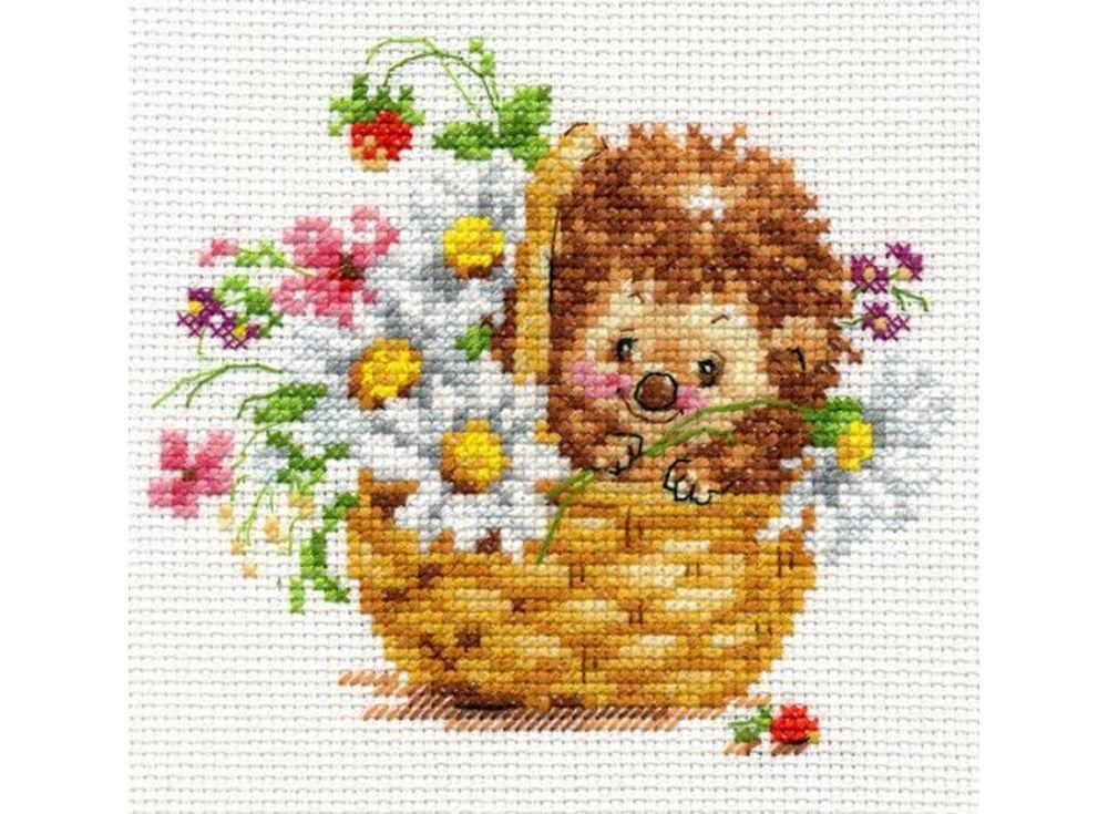 Купить Вышивка крестом, Набор для вышивания «Ежик в ромашках», Алиса, 13x11 см, 0-113