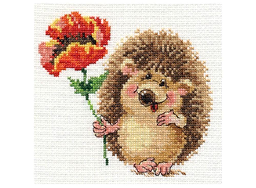 Купить Вышивка крестом, Набор для вышивания «Ежик с маком», Алиса, 14x13 см, 0-116