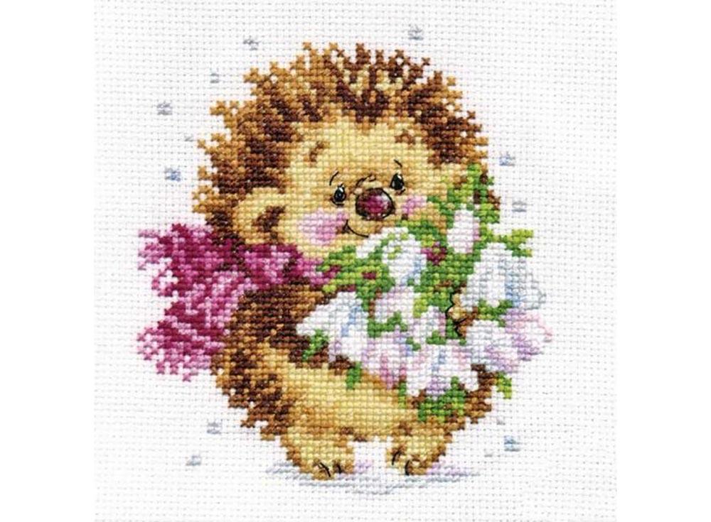 Купить Вышивка крестом, Набор для вышивания «Весенний ежик», Алиса, 11x13 см, 0-89
