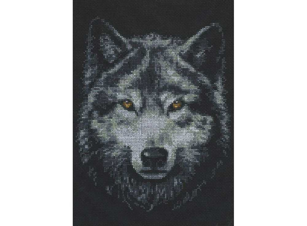 Вышивка крестом, Набор для вышивания «Взгляд волка», Палитра, 21x27 см, 02.001  - купить со скидкой