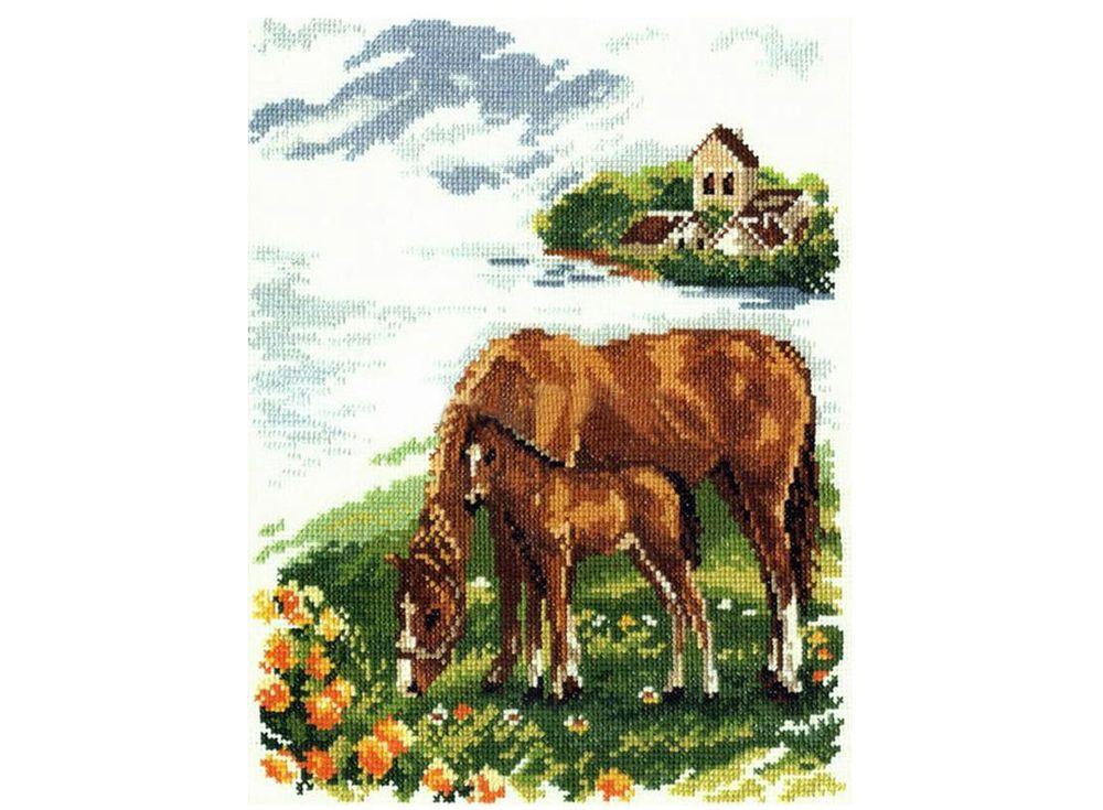 Купить Вышивка крестом, Набор для вышивания «Лошадки», Алиса, 22x26 см, 1-03