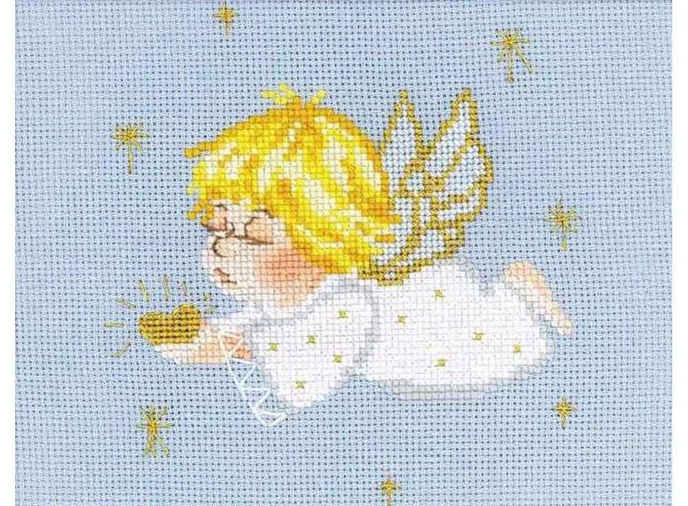 Купить Вышивка крестом, Набор для вышивания «Ангелочек с сердцем», Риолис (Сотвори Сама), 18x15 см, 1135