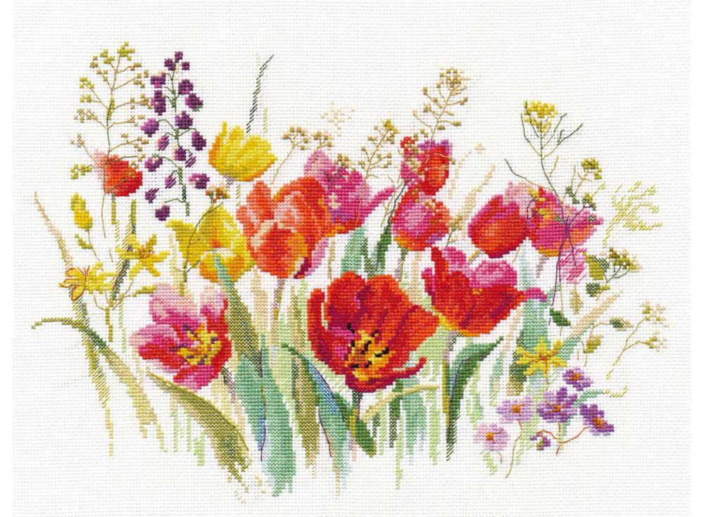 Купить Вышивка крестом, Набор для вышивания «Полевые тюльпаны», Алиса, 30x21 см, 2-34