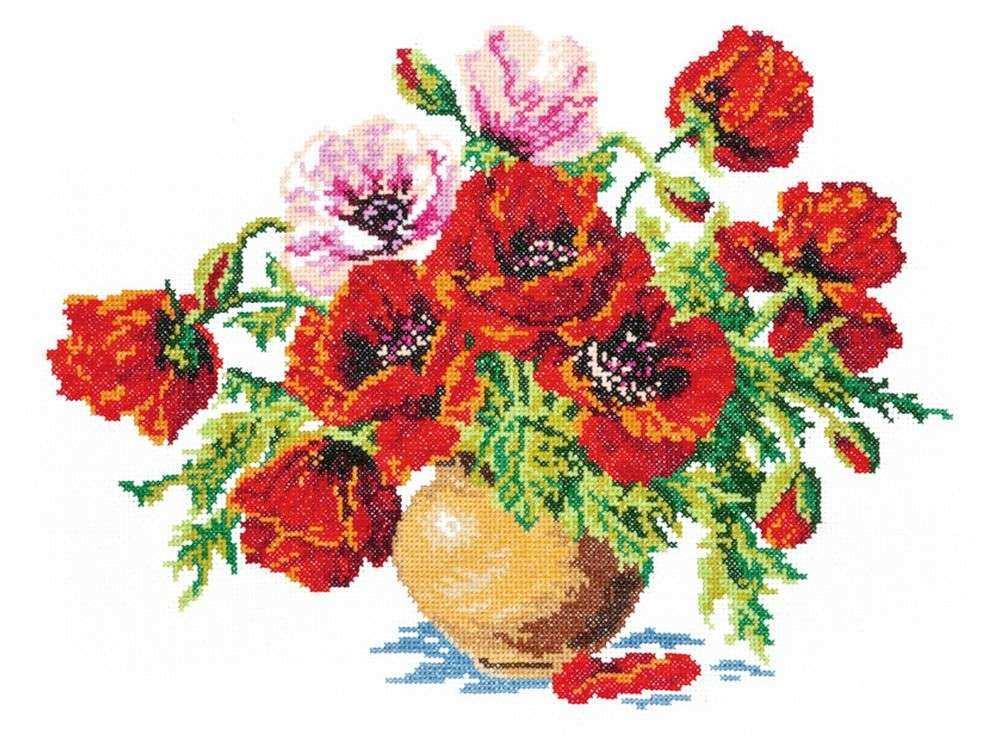 Купить Вышивка крестом, Набор для вышивания «Маки», Чудесная игла, 34x25 см, 40-06