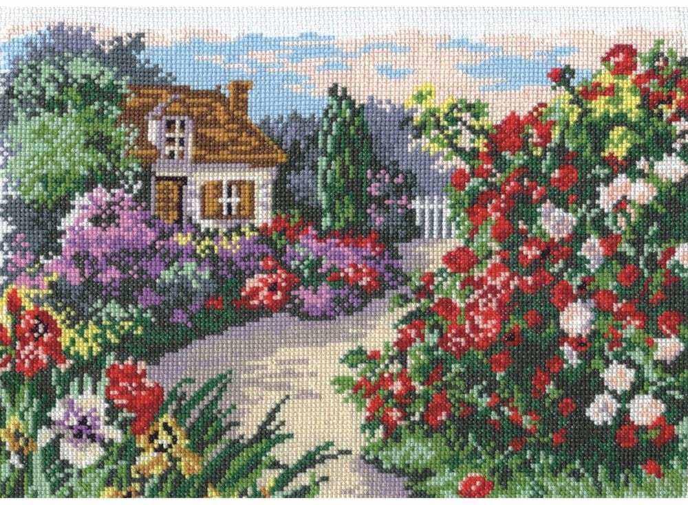Купить Вышивка крестом, Набор для вышивания «Цветущий сад», Чудесная игла, 29x20 см, 52-03