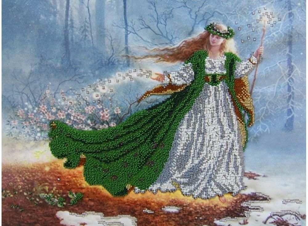 Купить Вышивка бисером, Набор вышивки бисером «Фея Весна», Астрея (Глурия), 40x30 см, 52029
