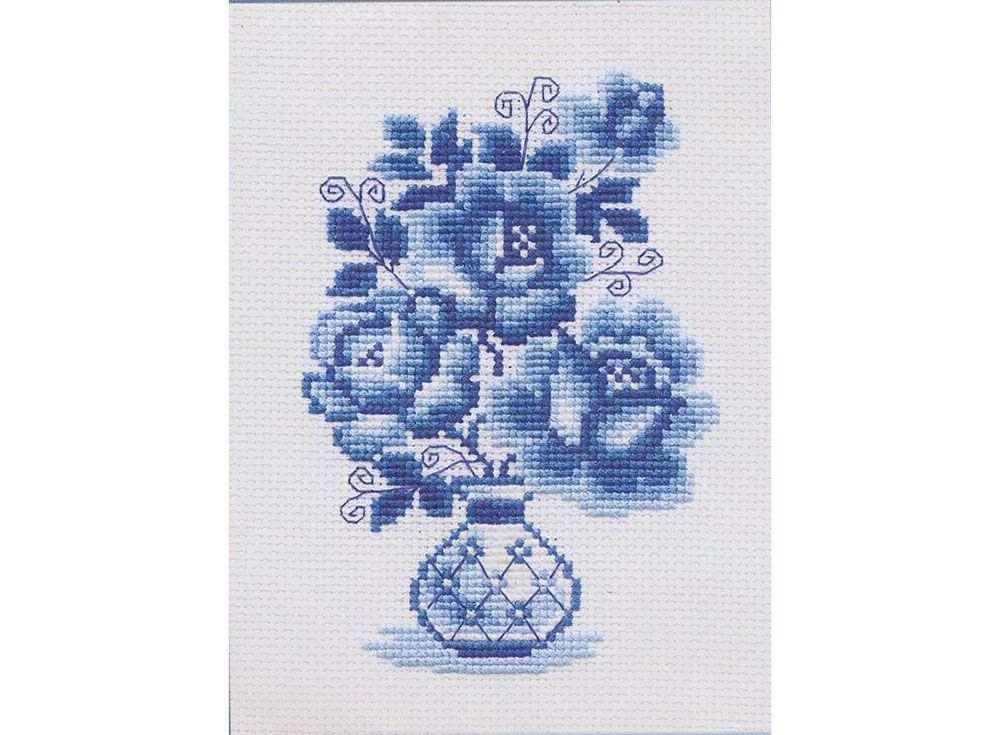 Купить Вышивка крестом, Набор для вышивания «Гжель. Розы», Риолис (Сотвори Сама), 18x24 см, 839