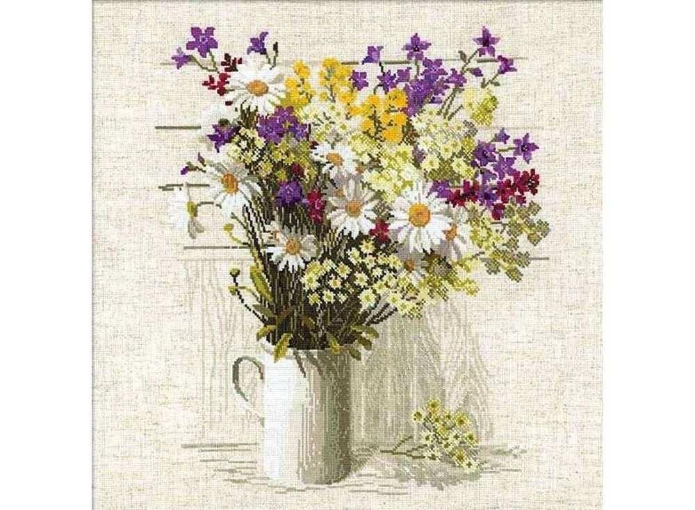 Купить Вышивка крестом, Набор для вышивания «Полевые цветы», Риолис (Сотвори Сама), 45x45 см, 924