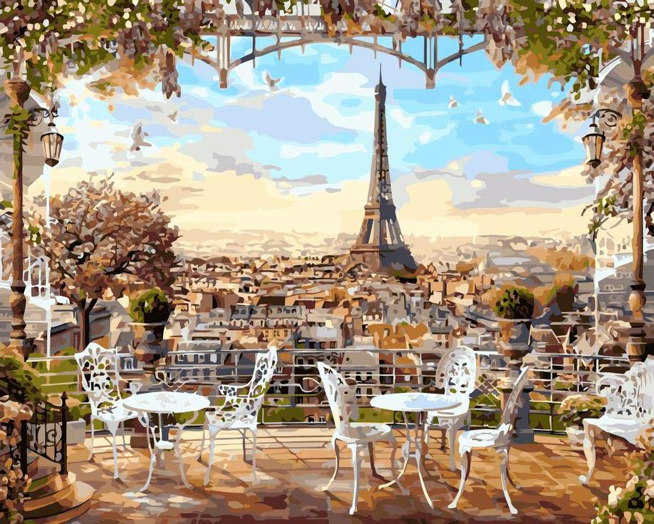 Купить Картина по номерам «Кафе с видом на Эйфелеву башню», Paintboy (Premium), GX8876