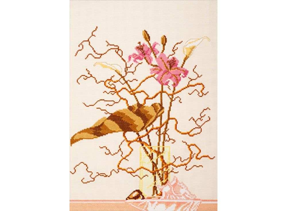 Купить Вышивка крестом, Набор для вышивания «Розовые лилии», Овен, 30x42 см, 253