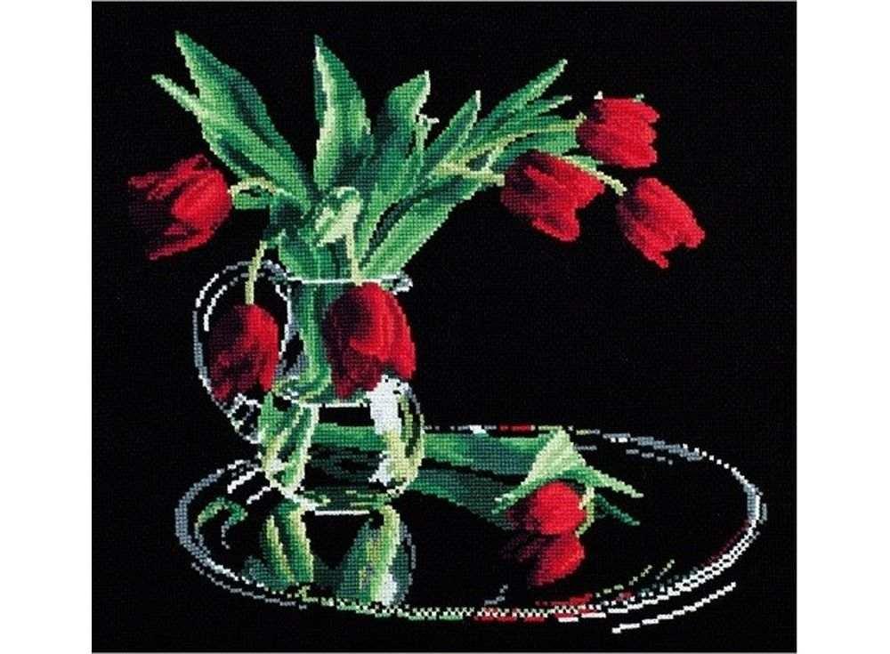 Вышивка крестом, Набор для вышивания «Тюльпаны на черном», Овен, 35x32 см, 318  - купить со скидкой