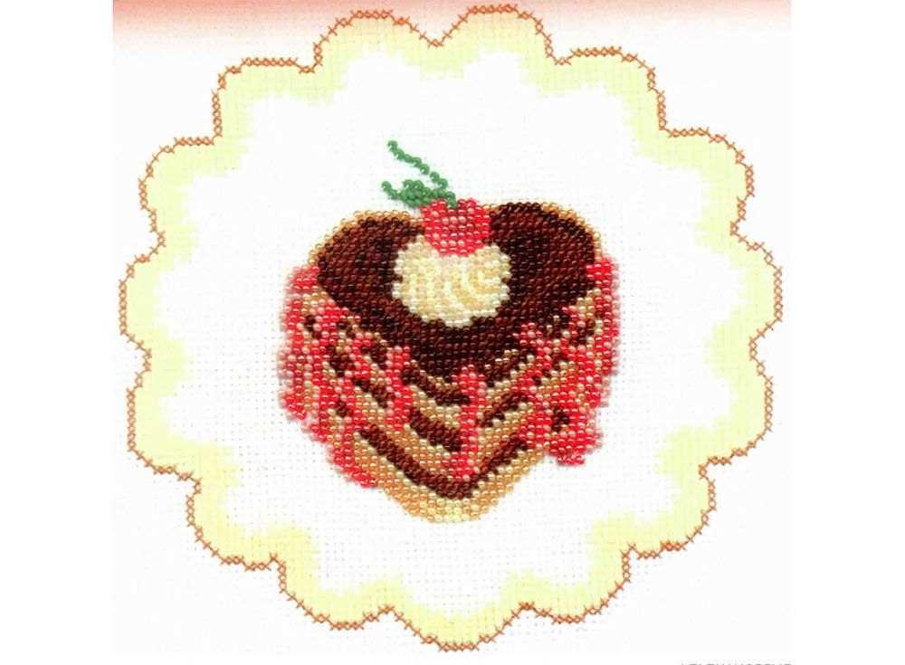 Купить Вышивка смешанной техникой, Набор для вышивания «Пирожное с вишней», Овен, 15x15 см, 442