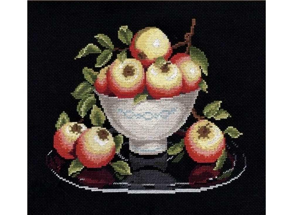 Купить Вышивка крестом, Набор для вышивания «Яблоки в вазе», Овен, 20x24 см, 594