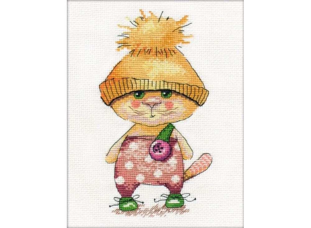 Купить Вышивка крестом, Набор для вышивания «Рыжий кот», Овен, 12x21 см, 906