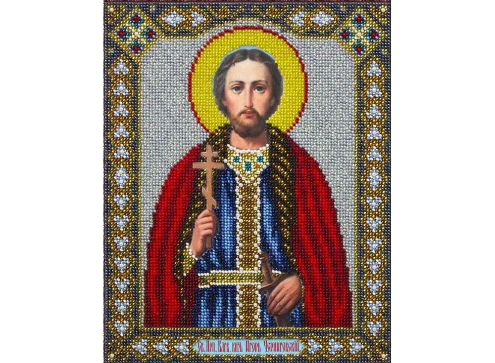 Купить Вышивка бисером, Набор вышивки бисером «Святой Игорь», Паутинка, 20x25 см, Б-1076