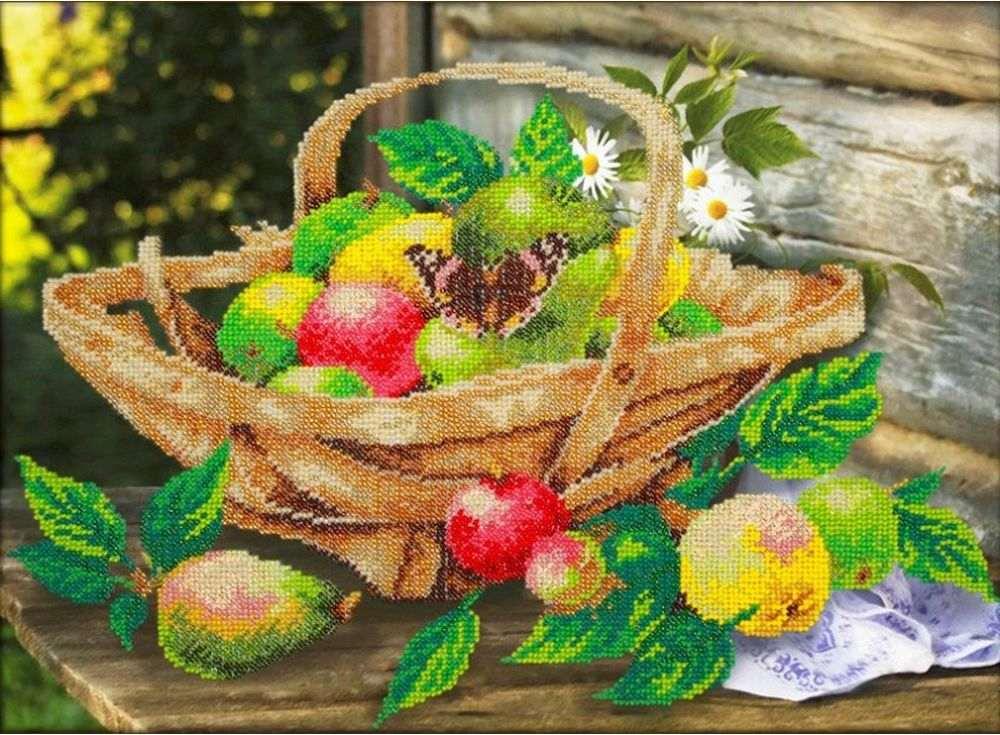 Купить Вышивка бисером, Набор вышивки бисером «Яблочки», Паутинка, 38x28 см, Б-1266