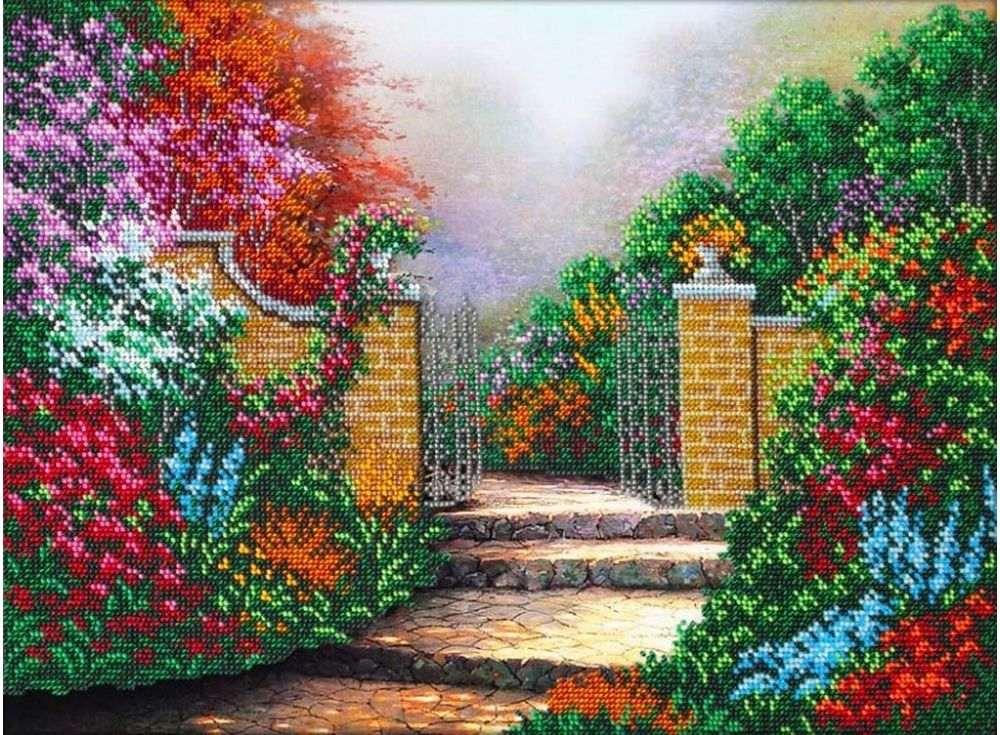 Купить Вышивка бисером, Набор вышивки бисером «Дорожка в сад», Паутинка, 38x28 см, Б-1447