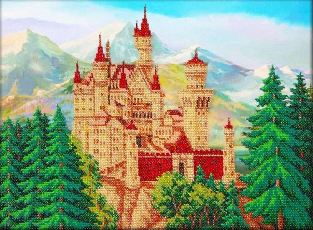 Купить Вышивка бисером, Набор вышивки бисером «Замок летом», Паутинка, 38x28 см, Б-1448
