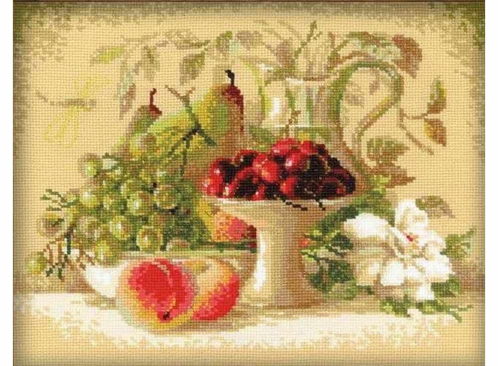 Купить Вышивка крестом, Набор для вышивания «Натюрморт с черешней», Риолис (Сотвори Сама), 30x24 см, 1085
