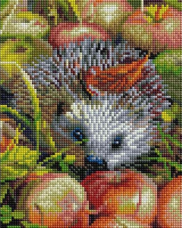 Купить Алмазная вышивка «Яблочный ежик», Белоснежка, 20x25 см, 403-ST-PS