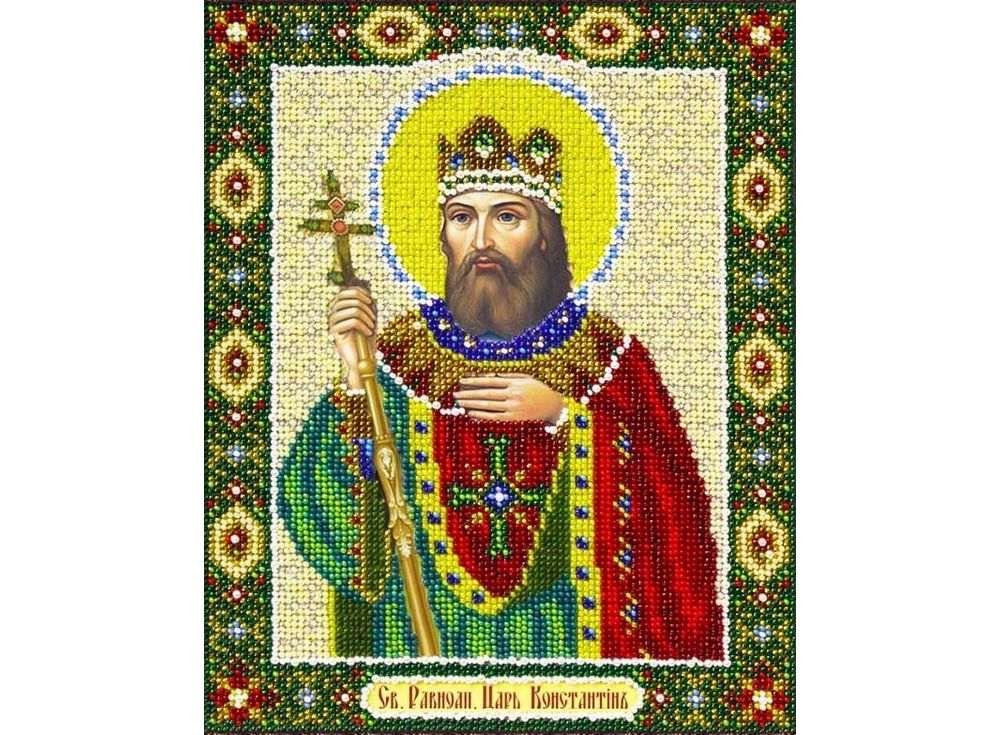 Купить Вышивка бисером, Набор вышивки бисером «Святой Константин», Паутинка, 20x25 см, Б-1083