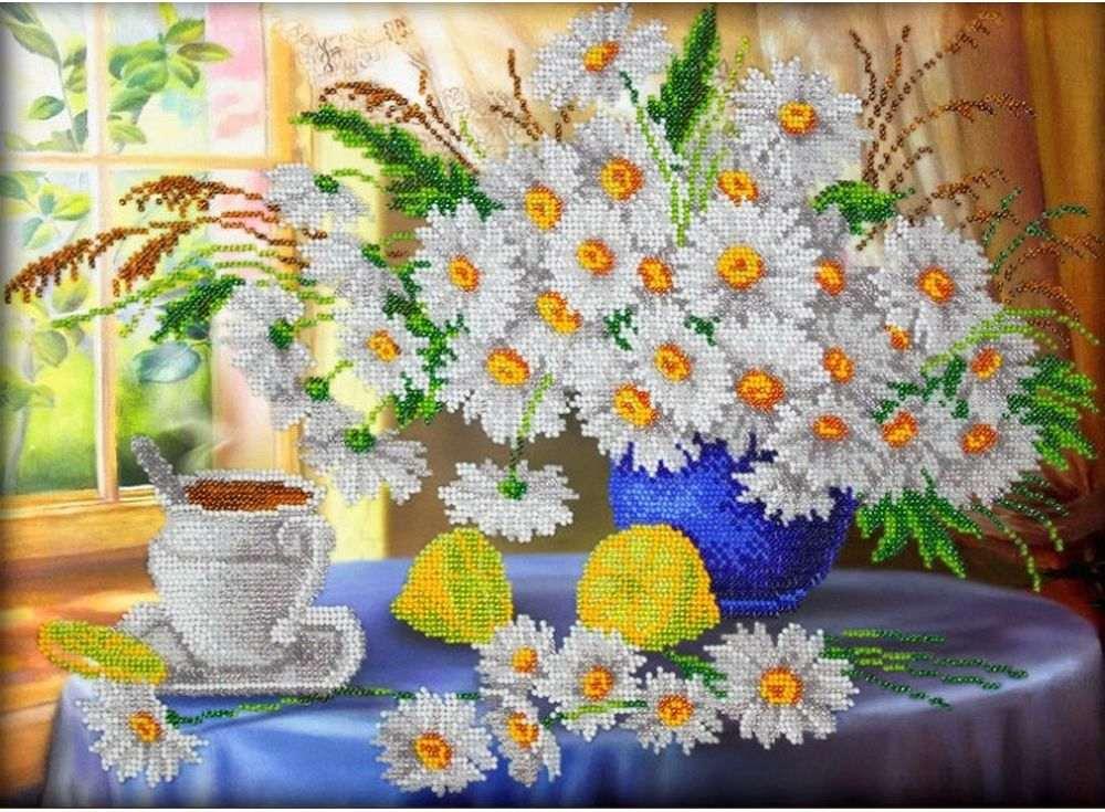 Купить Вышивка бисером, Набор вышивки бисером «Утренний чай», Паутинка, 38x28 см, Б-1260