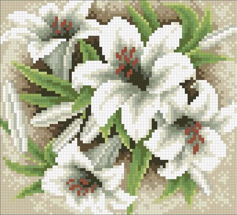 Купить Алмазная вышивка «Садовые лилии», Паутинка, 20x18 см, М-232