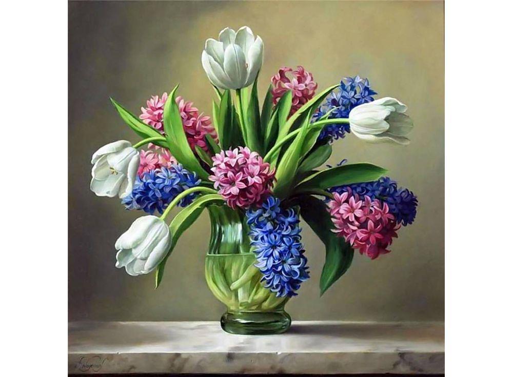 Купить Вышивка бисером, Набор вышивки бисером «Весенний букет», Color KIT, 23x23 см, 628